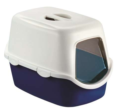 Záchod pro kočky krytý s filtrem modrý