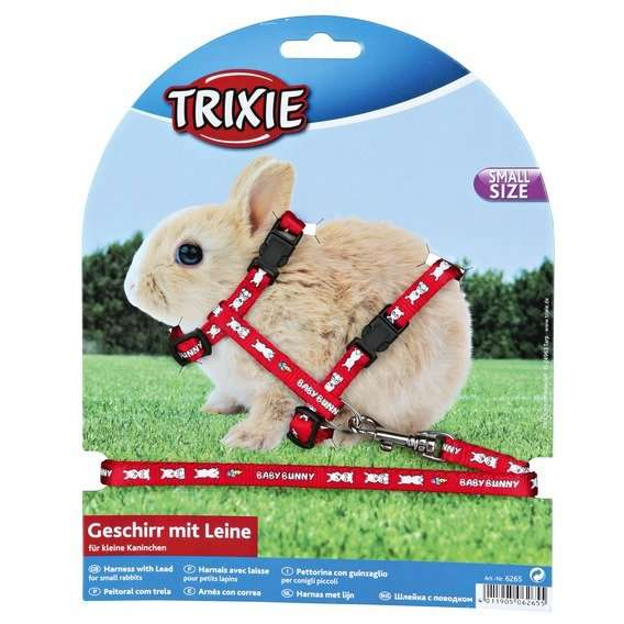 Postroj králík Trixie Baby Bunny - Červená barva