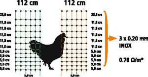 Síťová ohrada pro drůbež, slepice, ovce 25 m zelená, dva hroty v zemi