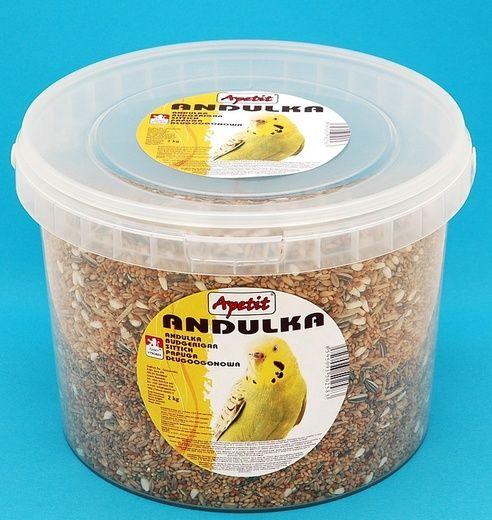 Apetit Andulka 2kg, vědro 3L,základní krmivo pro andulky