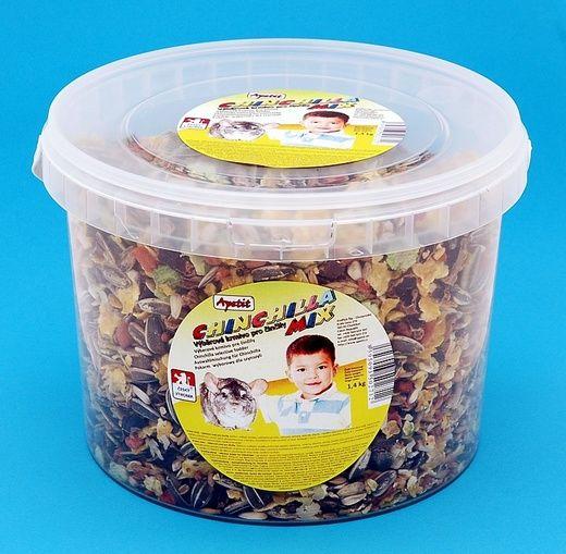 Apetit Chinchilla mix 1,4kg, vědro 3L, výběrové krmivo pro činčily pravé