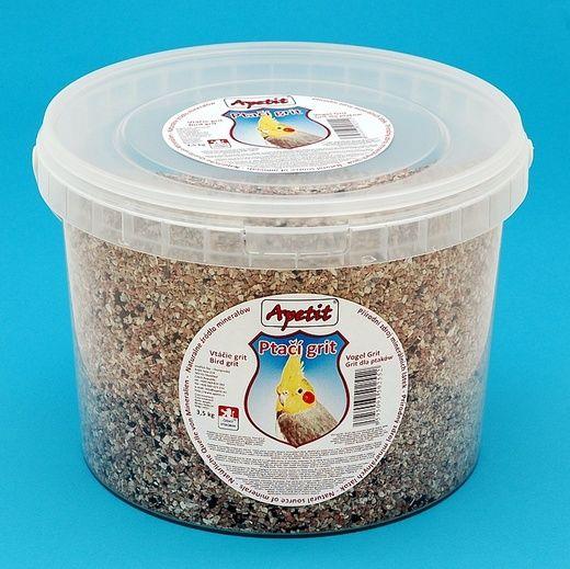 Apetit - Ptačí grit 3,5kg, vědro 3L, doplňkové minerální krmivo pro ptactvo