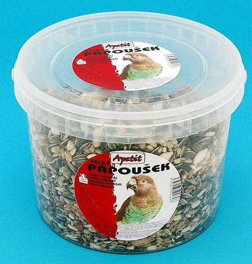 Apetit Velký papoušek 1,4kg,vědro 3L, základní krmivo pro velké poušky