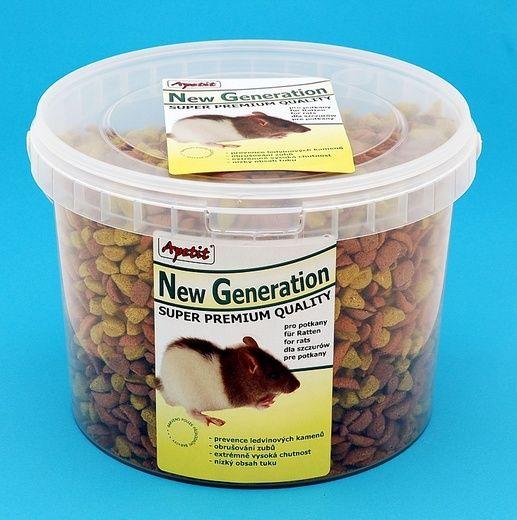 New Generation - potkan, vědro 3L (1100g) superprémiové extrudované krmivo Apetit