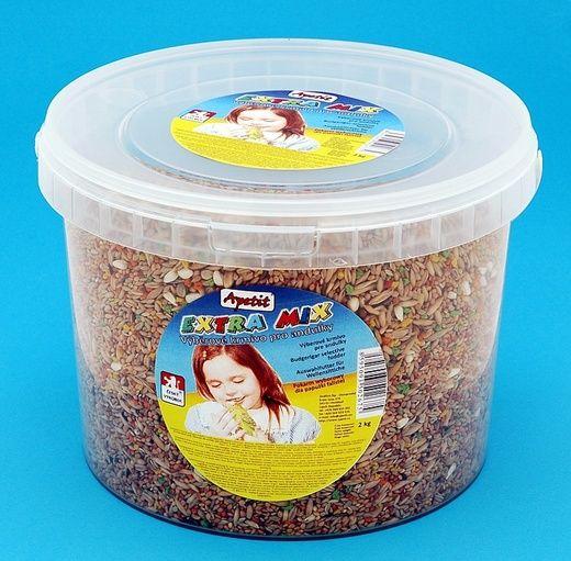 Apetit Andulka extra mix 2kg, vědro 3L, výběrové krmivo pro andulky