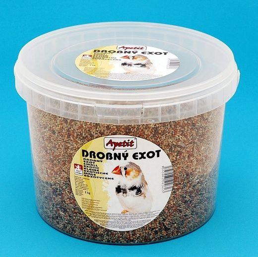 Apetit Exot 2kg,vědro 3L, základní krmivo pro drobné exotické ptactvo