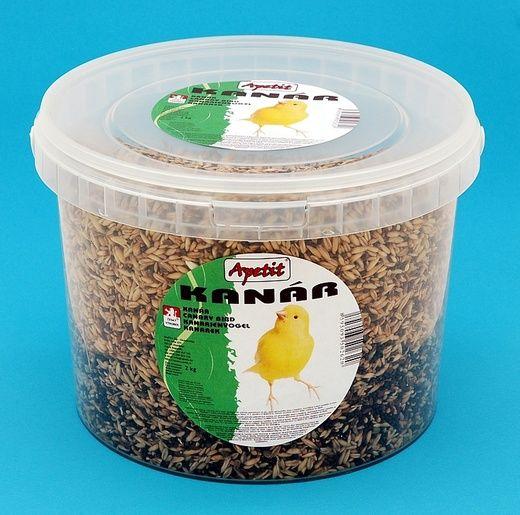 Apetit Kanár 2kg, vědro 3L, základní krmivo pro kanáry
