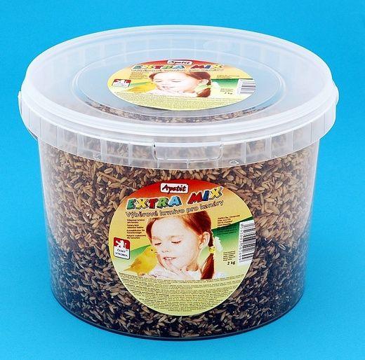 Apetit Kanár extra mix 2kg, vědro 3L, výběrové krmivo pro kanáry