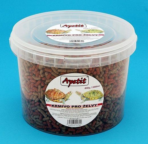 Apetit - krmivo pro želvy, vědro 3L (800g), granulované krmivo pro vodní i suchozemské želvy