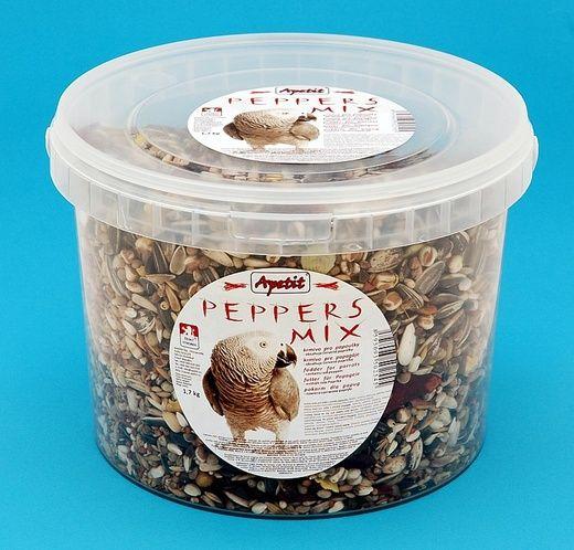 Apetit Peppers mix 1,7kg,vědro 3L, výběrové krmivo pro papoušky s papričkami