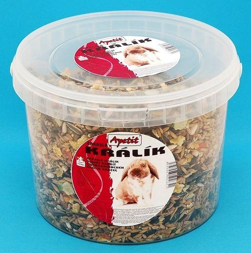 Apetit Zakrslý králík 1,7kg, vědro 3L, základní krmivo pro zakrslé králíky
