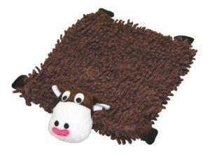 Barevný čtverec hračka plyšová - Shaggy kravička 26x26cm