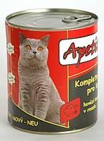 Apetit - konzerva pro kočky - hovězí 855g, hovězí kousky v rosolu