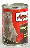 Apetit - konzerva pro kočky - hovězí 410g, hovězí kousky v rosolu