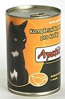 Apetit - konzerva pro kočky - drůbež 410g, drůbeží kousky v rosolu